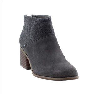 TOMS Suede and Felt Lacy Booties